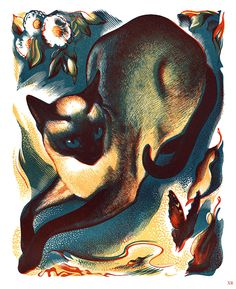 1939 … the cat and the butterfly  artist - Agnes Miller Parker