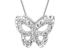 Let your dreams take flight with this shimmering butterfly pendant! Icy white Swarovski crystals blanket the face of a stylized figure with their pure radiance in a setting of sleek sterling silver. Piece measures 3/4 by 5/8 inches.Comes with a sterling silver 18-inch rope chain.