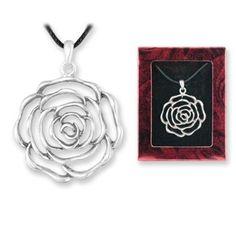 $7.99 - Antique Silver Finish Rose Flower Pendant