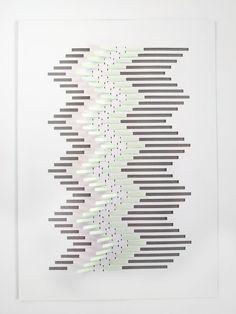 Paper Art — Geometric Chevron Papercut in White and Mint