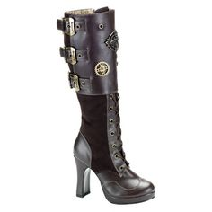 Brown Suede Steampunk Boots by Demonia via Sinister Soles