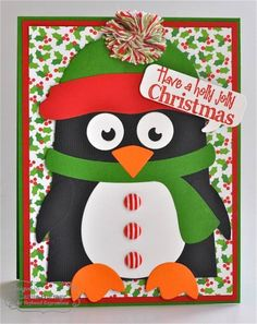 Holly Jolly Penguin Card by Carole Burrage #Cardmaking, #Christmas
