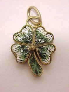 Antique Victorian Micromosaic Micro Mosaic Four Leaf Clover Pendant