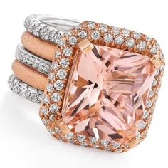 Morganite and diamond ring set