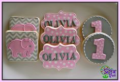 First birthday cookies #elephant #chevron