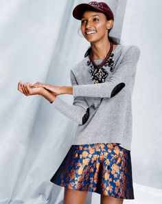 J.Crew Collection fluted skirt in copper bloom jacquard.