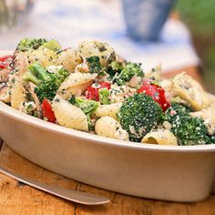 Broccoli, Cherry Tomato, and Pasta Salad. Wow, this is bursting with flavor! I did omit the fresh mushrooms because they browned and didn't add much-- and I replaced the shell pasta with bow tie.  Superb with all those fresh herbs!