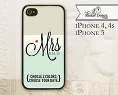 Bride cell phone case, iPhone 4 4s, iPhone 5, Mrs, wedding date, color block, stone cream seafoam, customize colors, phone cover rubber on Etsy, $16.99