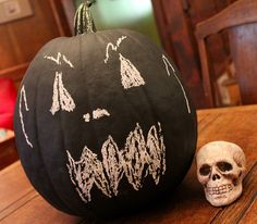 chalkboard painted pumpkin - Google Search