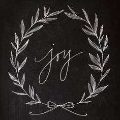 Chalkboard Art - Joy Wreath Art Print