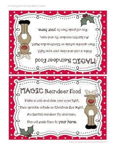 school projects, magic reindeer, food labels, christma break, reindeer foodpdf