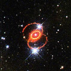 """Supernova 1987A. Taken by Hubble Space Telescope in 1995. The glowing debris of the explosion is at the center of the inner ring. The outer rings were already there at the time of the explosion, but they're visible as they reflect the light from the supernova. (Credit: George Sonneborn (Goddard Space Flight Center), Jason Pun (NOAO), the STIS Instrument Definition Team, & NASA/ESA) Mona Evans, """"Galactic Winter Games"""" http://www.bellaonline.com/articles/art182620.asp"""