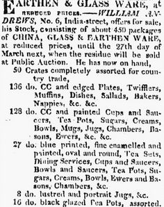 """An 1817 newspaper ad for earthen and glass ware, published in the Boston Daily Advertiser (Boston, Massachusetts), 4 February 1817. """"Researching Your Family Heirlooms: Gaudy Dutch Pottery."""" http://blog.genealogybank.com/researching-your-family-heirlooms-gaudy-dutch-pottery.html"""