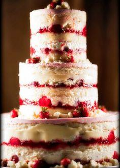 Lemon & Raspberry Naked Wedding Cake. I love this idea especially if u dont like icing