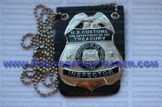 US Customs (DOT) Treasury Inspector badge with neck holder. Available from www.policebadgetrader.com