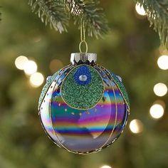 Peacock Glass Ornament Ball