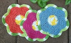Flower Dishcloth Washcloth set of three crocheted 100% cotton pink orange blue - $