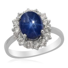 Liquidation Channel: Thai Blue Star Sapphire and White Topaz Ring in Platinum Overlay Sterling Silver (Nickel Free)