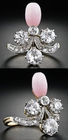 Victorian conch pearl and diamond ring in platinum and yellow gold. Total diamond weight, 1.15 carats, circa 1880. Via Diamonds in the Library.