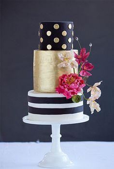 Gold and black polka dot cake