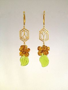 Chandelier Earring with Peridot Leaf by Hibiscus03 on Etsy, $35.00