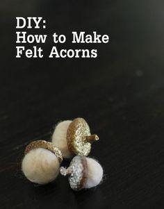 Beautiful felt acorns for fall #diy #craft #felt