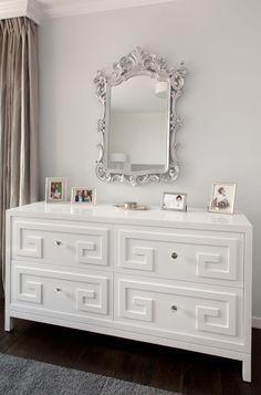 greek key dresser high gloss white gray bedroom