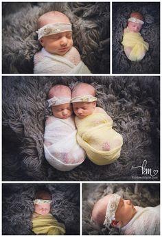 Twin newborn pose - newborn twin girls - yellow and white newborn twins