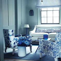 White and Blue  Room   Floral blue and white living room   Living room decorating ideas ...
