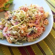 pasta salad easy, salad recip, cook, bacon ranch, side, food, summertim yummi, ranch pasta salads, pastas
