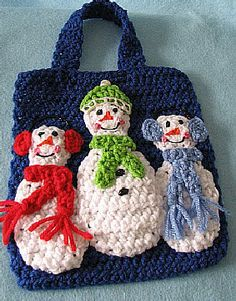 Three Snowmen Gift Bag Free Crochet Pattern. ☀CQ #crochet #christmas