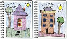school, journal pages, kid art, art journals, collag, map, house art, project ideas, art projects