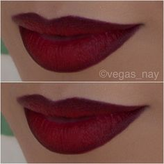 First apply M•A•C Russian Red lipstick (it has a very matte finish) and darken outer lips with NYX 'Cocoa' thin lip pencil; then clean outer edges with concealer to have a sharp clean line.