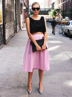 black crop top + midi pink skirt