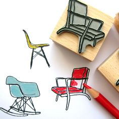 Eames chairs + rubber stamps //// <3