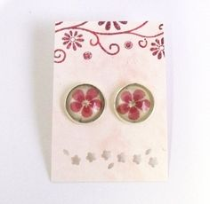 Silver plated floral earrring studs ear post by agatechristina, $12.00