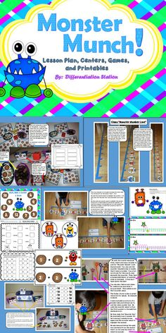 This is a silly monster themed set of centers, games, printables, and a lesson plan. These games focus on addition to 20, number lines, and missing addends. This product is geared toward 1st and 2nd grades, and special education instruction. Many of the games focus on active and concrete learning. This product is 121 pages long!