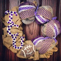 TCU wreath - Purple and White - Football wreath - College wreath - Front door wreath - Burlap wreath on Etsy, $75.00