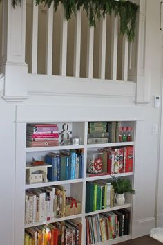 Sweet cookbook storage by color