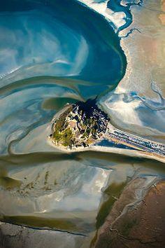Aerial shot of Saint Michel Mont
