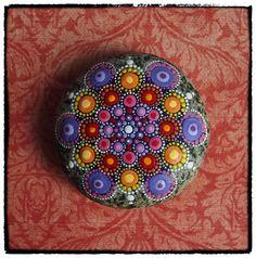 Beautiful Painted Stones :: Jewel Drop Mandala Painted Stone Sunset Harmony by Elspeth McLean