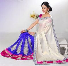 Royal Blue and Off White Handwork Saree