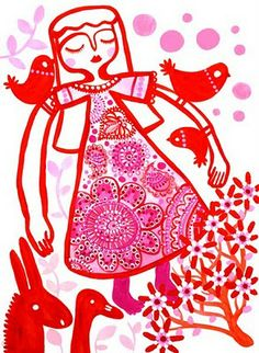 Paper cut girl with birds
