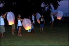 Idea for birthday or 'gotcha' day.  Write a note on the sky latern and set them off.
