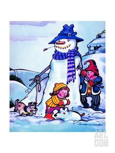 Snowman and Snow Dog - Jack & Jill by Fred Womack. Print from Art.com, $49.99