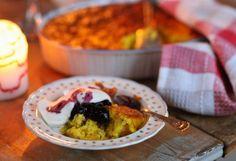 Safranpandekager m. yogurt og brombærkompot