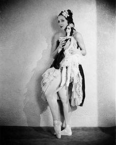 Alexandra Danilova in the Ballet 'La Boutique Fantasque' at Covent Garden - with look-a-like boudoir doll