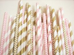 Customized 99 Rhinestone Paper Straw Pink Gold Princess
