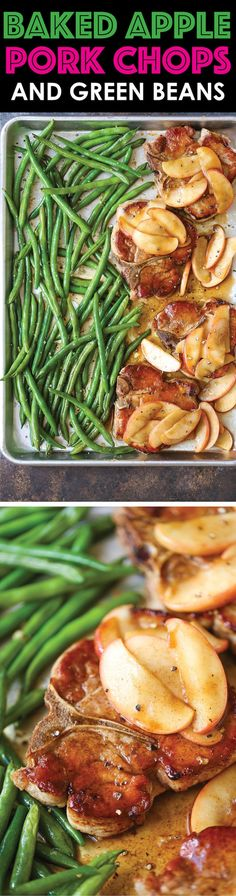 "Baked Apple Pork Chops and Green Beans - A quick and easy sheet pan dinner that can be assembled ahead of time and baked right before serving. Easy peasy! <a class=""pintag searchlink"" data-query=""%23ad"" data-type=""hashtag"" href=""/search/?q=%23ad&rs=hashtag"" rel=""nofollow"" title=""#ad search Pinterest"">#ad</a>"