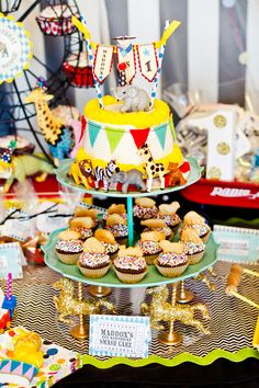 Cupcake idea from a Bold & Eclectic Carnival Circus Joint Birthday Party